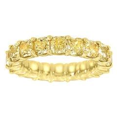 14 Karat Yellow Gold Cushion Yellow Diamonds Eternity Ring '7.5 Carat'