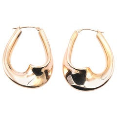 14 Karat Yellow Gold Custom Swirl Hoop Earrings