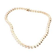 14 Karat Yellow Gold Custom Textured Link Necklace