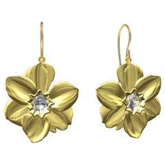 14 Karat Yellow Gold Daffodil Earrings with GIA Diamonds