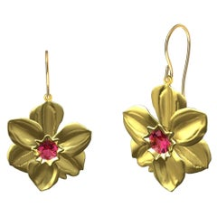 14 Karat Yellow Gold Daffodil Earrings with Pink Sapphires