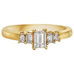 14 Karat Yellow Gold Dainty 5-Stone Emerald Cut Engagement Ring