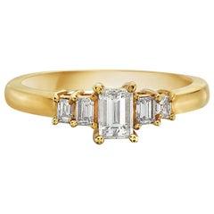 14 Karat Yellow Gold Dainty 5-Stone Emerald Cut Engagement Ring
