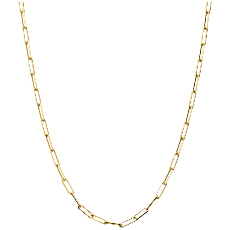 14 Karat Yellow Gold Dainty Chain Necklace For Sale