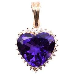 14 Karat Yellow Gold Diamond and Amethyst Heart Pendant