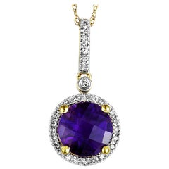 14 Karat Yellow Gold Diamond and Amethyst Round Pendant Necklace