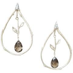 14 Karat Yellow Gold Diamond and Brown Topaz Earrings