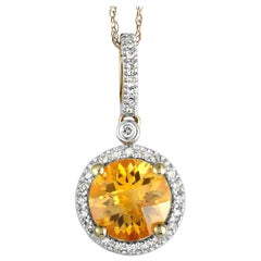 14 Karat Yellow Gold Diamond and Citrine Round Pendant Necklace
