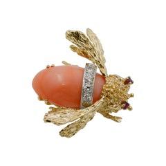 14 Karat Yellow Gold Diamond and Coral Bee Pin