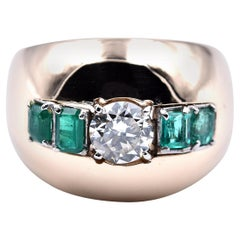14 Karat Yellow Gold Diamond and Emerald Wide Domed Ring