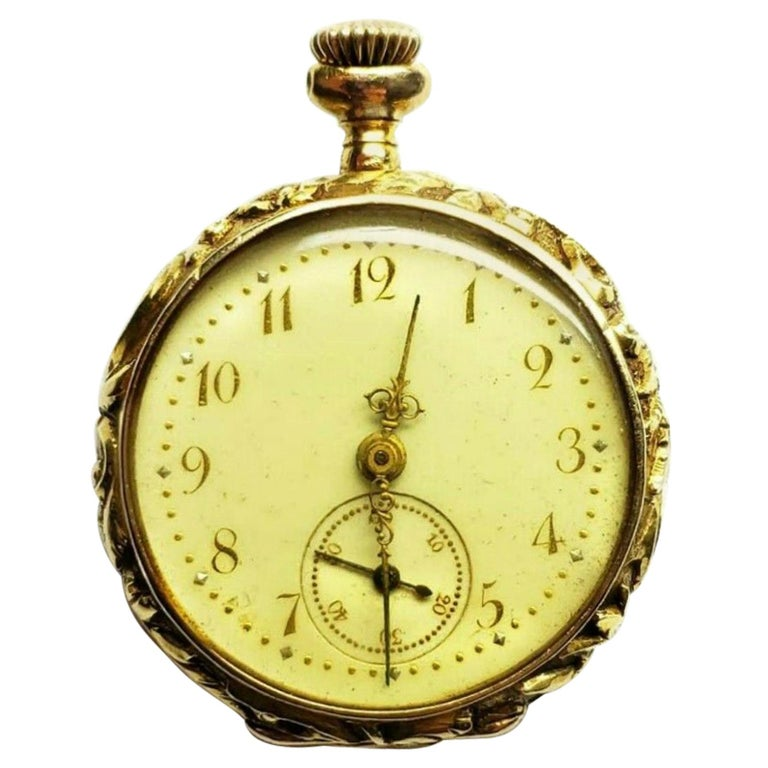 14k yellow gold diamond and enamel pocket watch, containing Diamond Specifications Main Stone:Diamonds Shape:  Old miner Carat Total Weight:   0.70ctw Color:   F   Clarity:   SI2 Jewelry Specifications Metal: 14k Yellow Gold Type:Pocket Hand-Wind