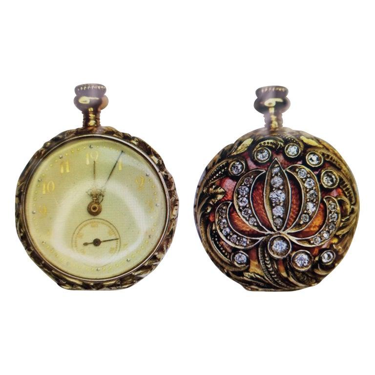 14 Karat Yellow Gold Diamond and Enamel Pocket Watch For Sale