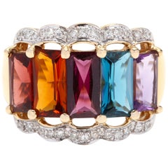 14 Karat Yellow Gold, Diamond and Mutli-Stone Rainbow Band Ring