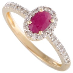 14 Karat Yellow Gold Diamond and Oval Ruby Ring