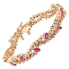 14 Karat Yellow Gold Diamond and Ruby Bracelet