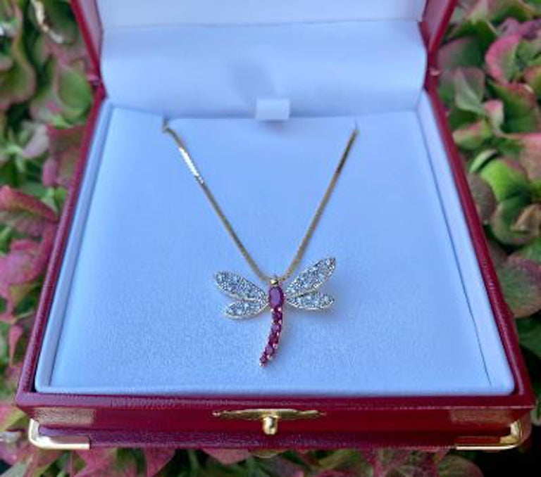 Modern 14 Karat Yellow Gold Diamond and Ruby Dragonfly Pendant on Balestra Italy Chain For Sale