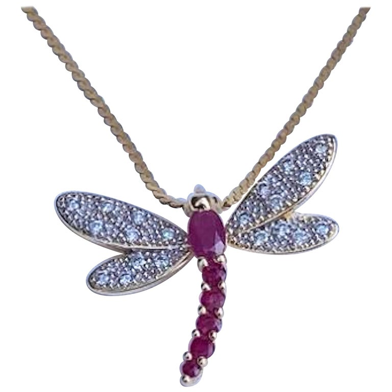 14 Karat Yellow Gold Diamond and Ruby Dragonfly Pendant on Balestra Italy Chain For Sale