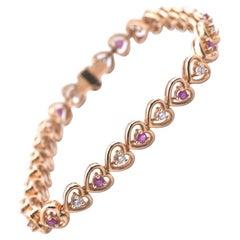 14 Karat Yellow Gold Diamond and Ruby Heart Bracelet