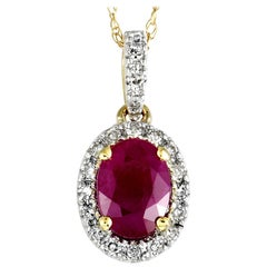 14 Karat Yellow Gold Diamond and Ruby Oval Pendant Necklace