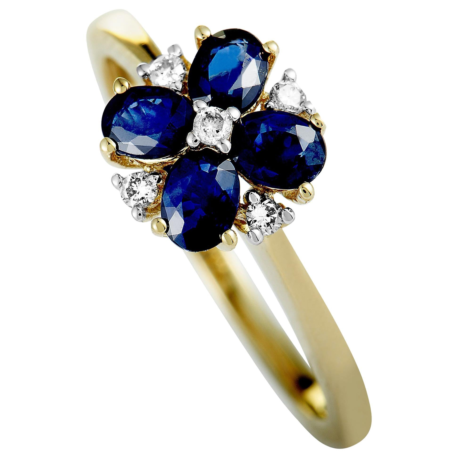 14 Karat Yellow Gold Diamond and Sapphire Flower Ring