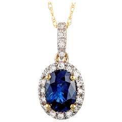 14 Karat Yellow Gold Diamond and Sapphire Oval Pendant Necklace