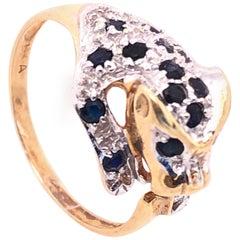14 Karat Yellow Gold Diamond and Sapphire Panther Ring