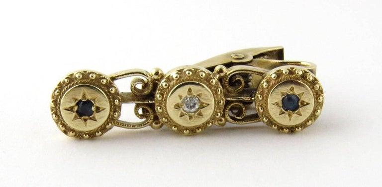 Men's 14 Karat Yellow Gold Diamond and Sapphire Tie Clip For Sale