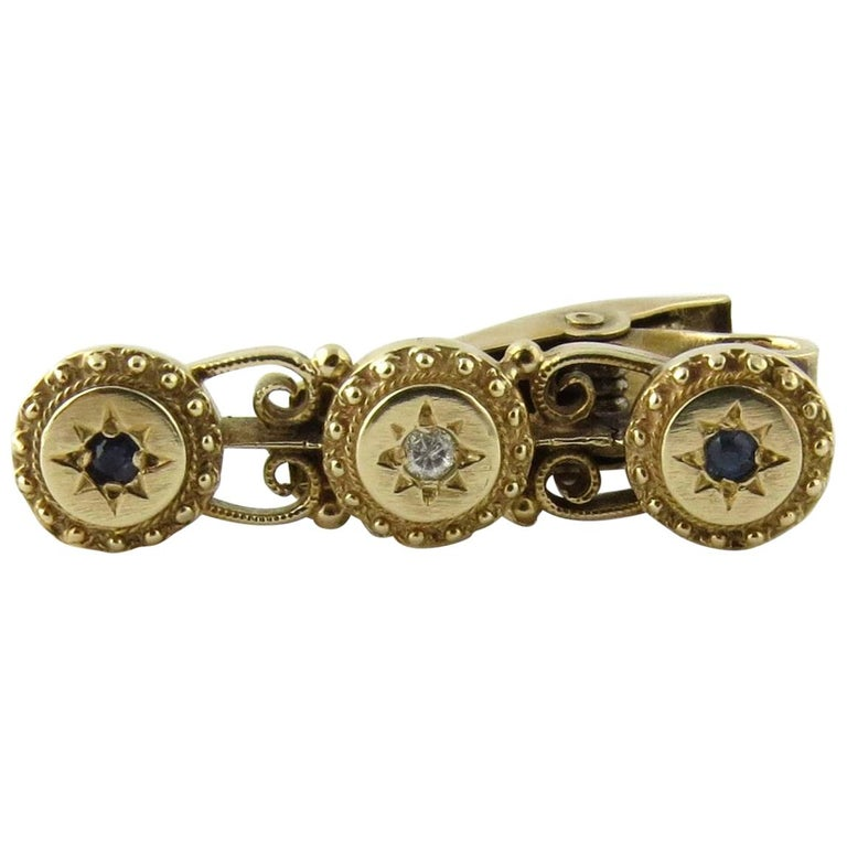 14 Karat Yellow Gold Diamond and Sapphire Tie Clip For Sale