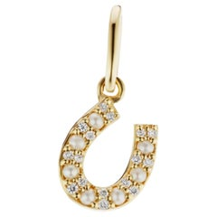 14 Karat Yellow Gold Diamond and Seed Pearl Pendant Charm