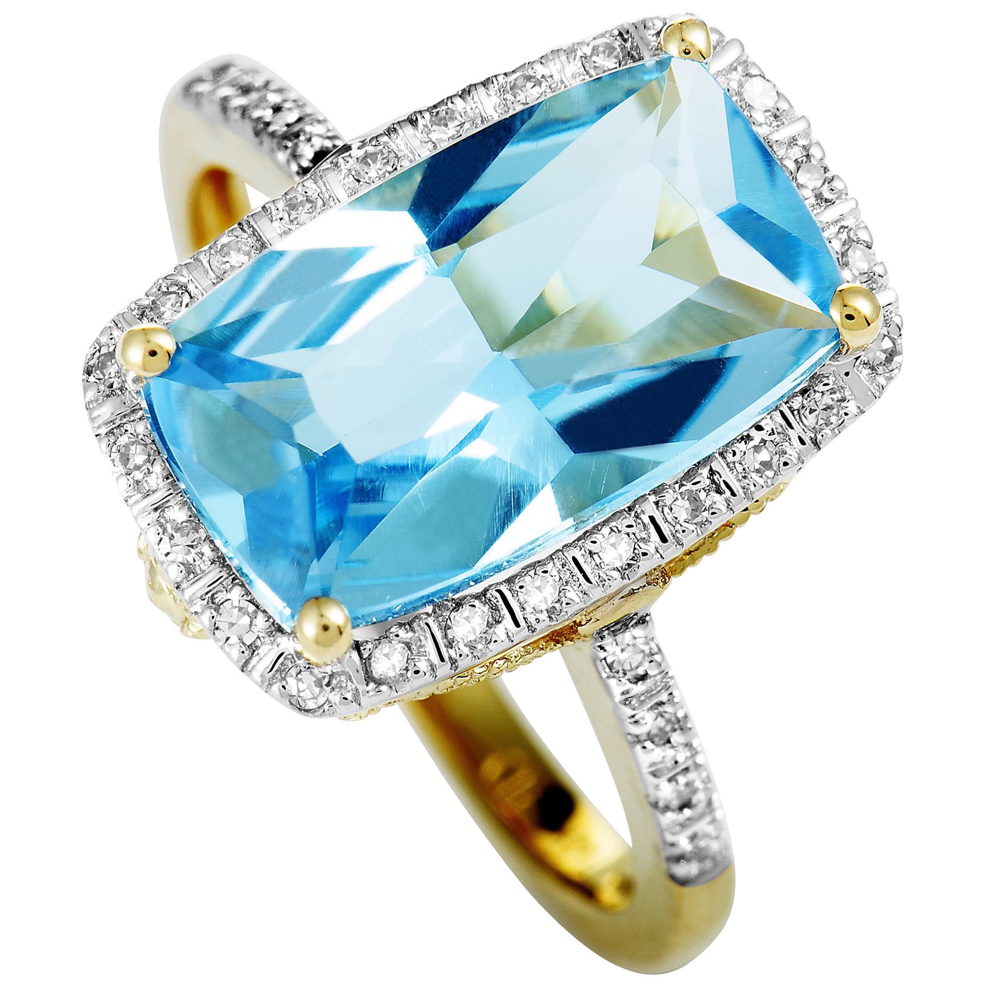 14 Karat Yellow Gold Diamond and Topaz Rectangle Ring