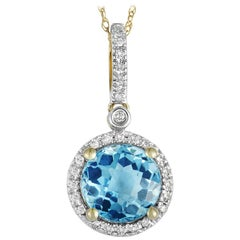 14 Karat Yellow Gold Diamond and Topaz Round Pendant Necklace