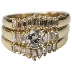 14 Karat Yellow Gold Diamond Baguette Ring with 2 Guard Rings