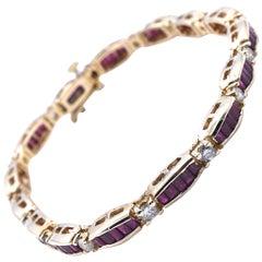 14 Karat Yellow Gold Diamond Baguette Ruby Tennis Bracelet