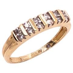 14 Karat Yellow Gold Diamond Band Ring Wedding Anniversary