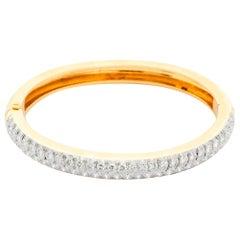 14 Karat Yellow Gold Diamond Bangle Bracelet