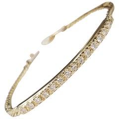 14 Karat Yellow Gold Diamond Bar and Chain Bracelet