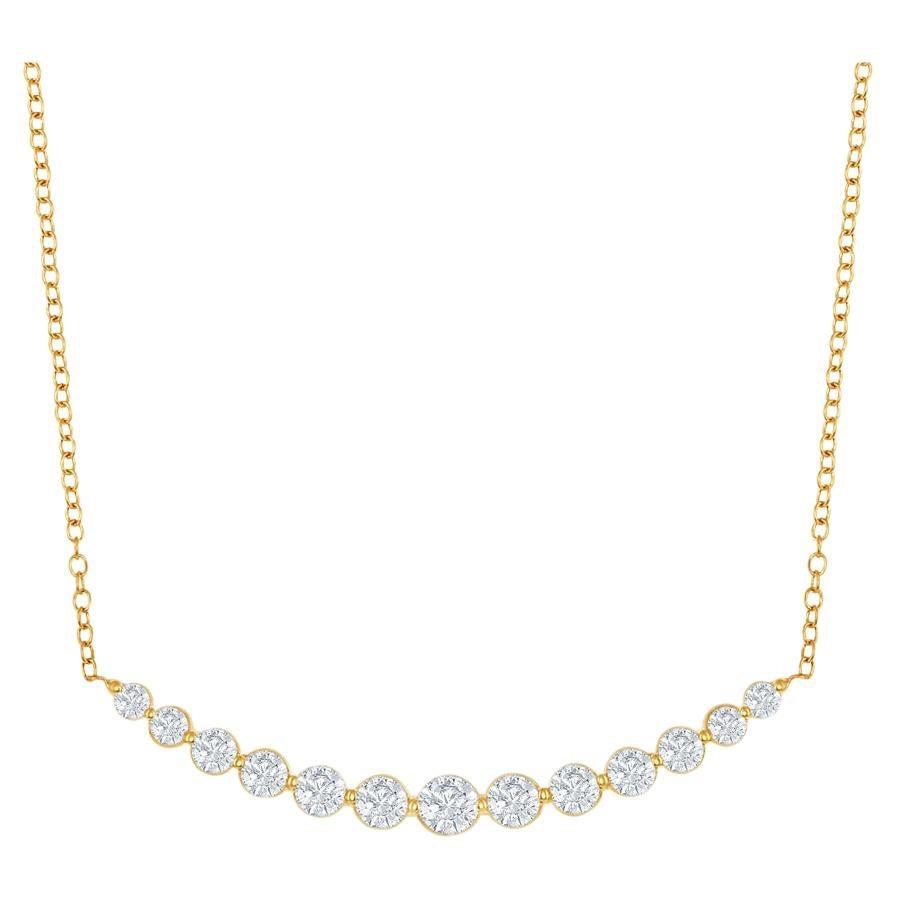 14 Karat Yellow Gold Diamond Bar Pendant Graduated