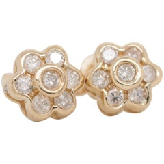 14 Karat Yellow Gold Diamond Bezel Set Flower Stud Earrings