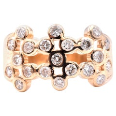 14 Karat Yellow Gold Diamond Bubble Band