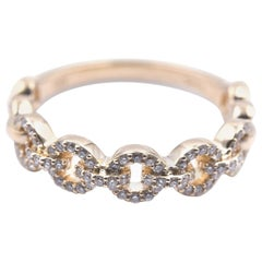14 Karat Yellow Gold Diamond Circle Link Band