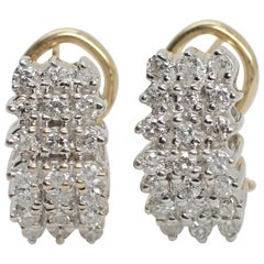 14 Karat Yellow Gold Diamond Cluster Earrrings