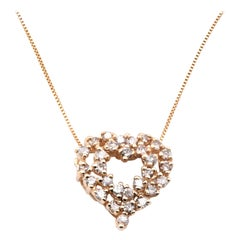 14 Karat Yellow Gold Diamond Cluster Heart Necklace