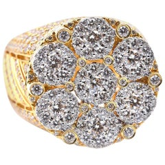 14 Karat Yellow Gold Diamond Cluster Ring