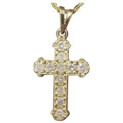 14 Karat Yellow Gold Diamond Cross