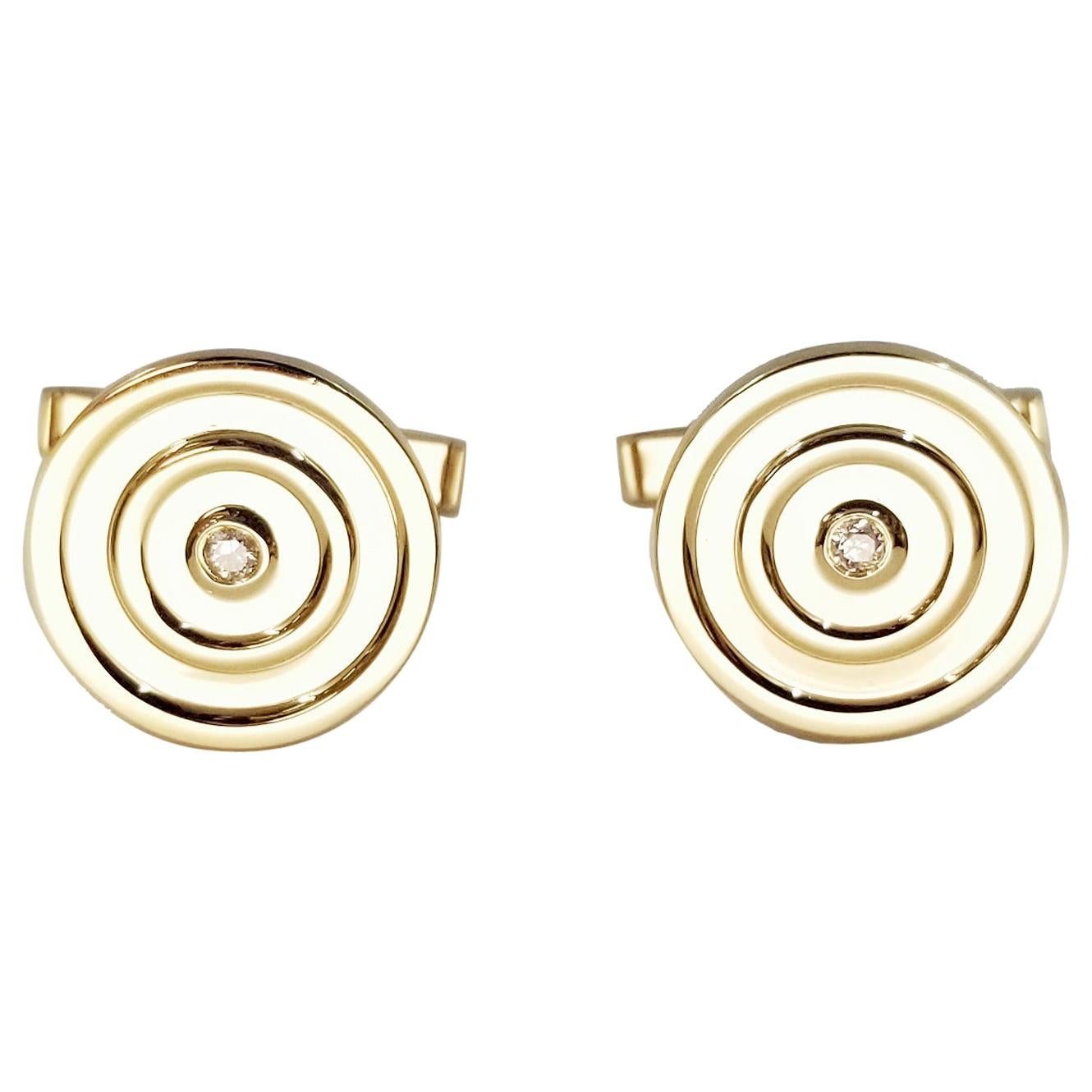 14 Karat Yellow Gold Diamond Cufflinks