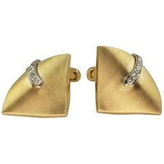 14 Karat Yellow Gold and Diamond Cufflinks