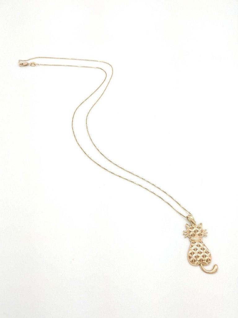 3365692b8264e 14 Karat Yellow Gold Diamond Cut Cat Pendant Necklace