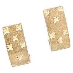 14 Karat Yellow Gold Diamond Cut Huggie Earrings