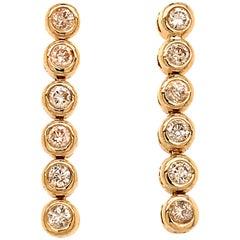 14 Karat Yellow Gold Diamond Dangle Drop Earrings
