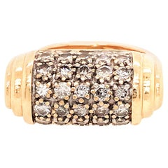 14 Karat Yellow Gold Diamond Dome Ring